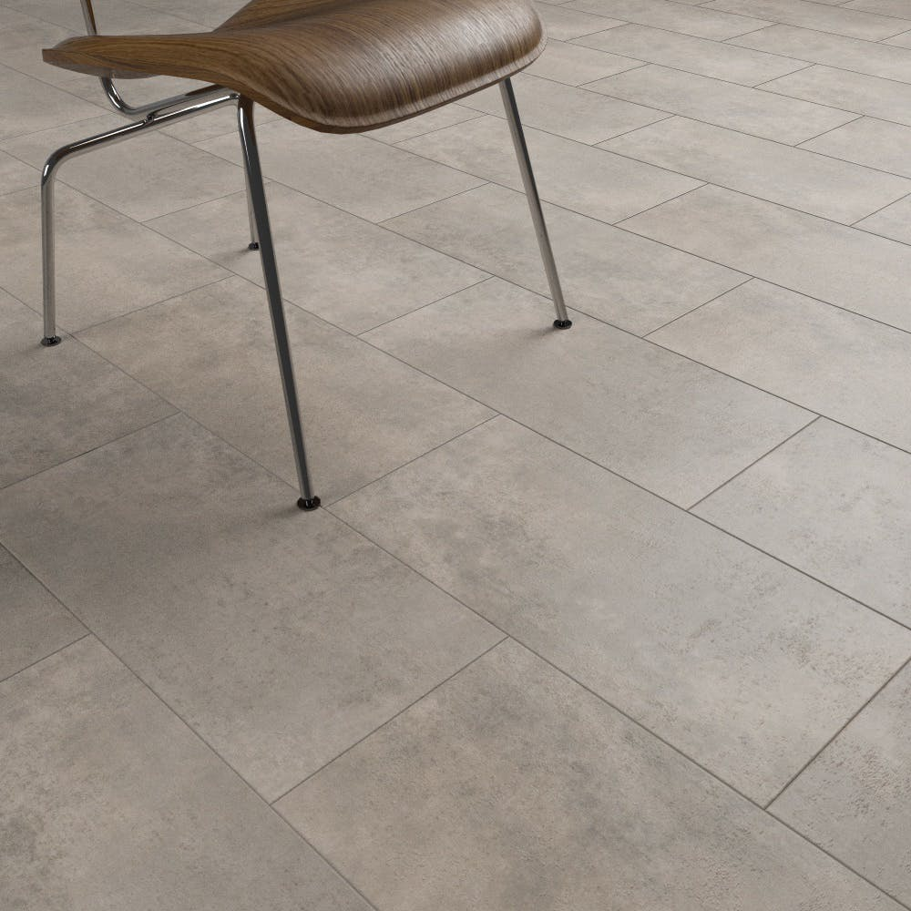 Clixeal Light Concrete tile effect click vinyl flooring. 1.48 square metres (8 tiles per box)